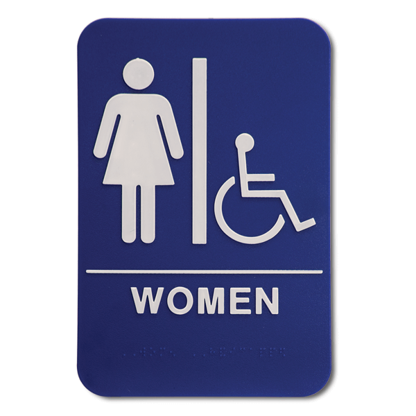 "Blue Women's Handicap ADA Braille Restroom Sign | 9"" x 6"""