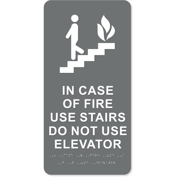 """ADA In Case of Fire Use Stairs Icon Sign 