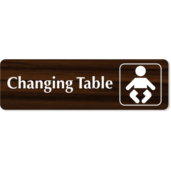 """Changing Table Baby Icon Engraved Plastic Sign 