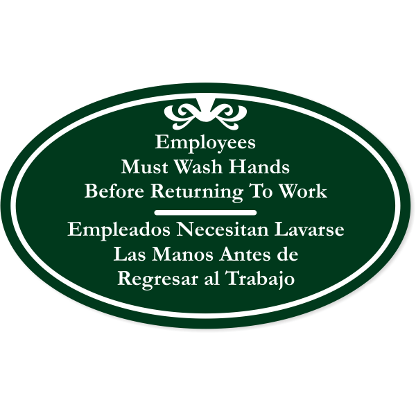 """Bilingual Oval Employees Must Wash Hands Engraved Plastic Sign   6"""" x 10"""""""