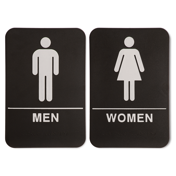 ADA Braille Men's and Women's Restroom Sign Set 6 in x 9 in Black