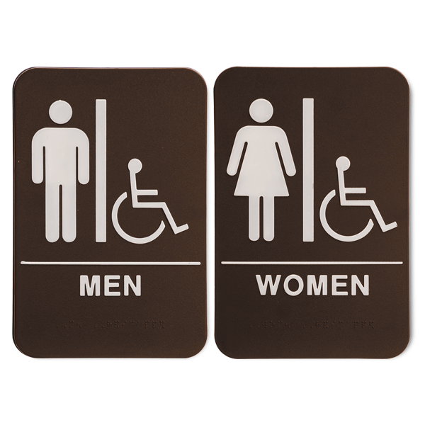 ADA Braille Men's and Women's Handicap Restroom Sign Set 6 in x 9 in Brown