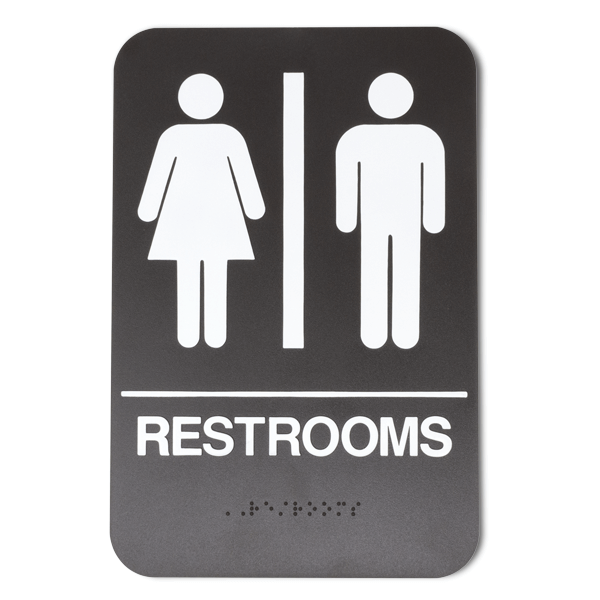 "Brown Unisex ADA Braille Restrooms Sign | 9"" x 6"""