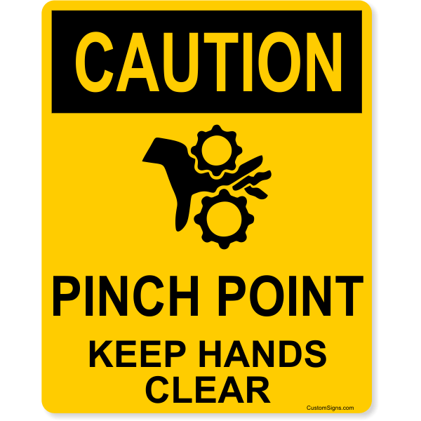 """Caution Pinch Point Full Color Sign   10"""" x 8"""""""