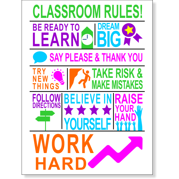 Classroom Rules School Poster Sign