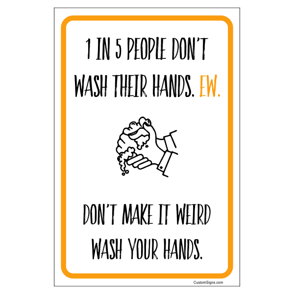 """Don't Make it Weird Hand Washing Full Color Sign 