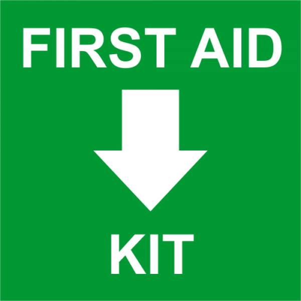 First Aid Kit with Bottom Arrow Engraved Sign