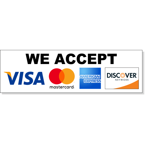 "Horizontal Credit Card Accepted Decal | 3"" x 10"""