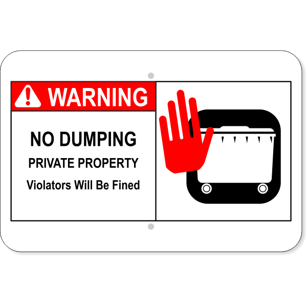 Horizontal No Dumping Private Property Sign