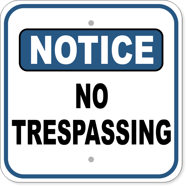 "Notice No Trespassing Aluminum Sign | 12"" x 12"""