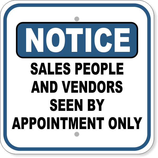 """Notice Seen By Appointment Aluminum Sign   12"""" x 12"""""""