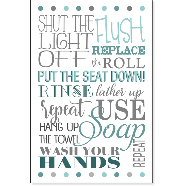 """Rules of the Bathroom Sign 