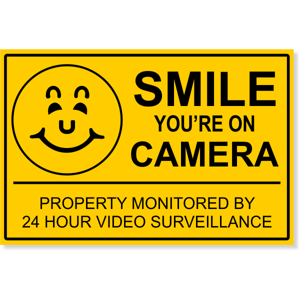 """Smile You're On Camera Video Surveillance Yard Sign   12"""" x 18"""""""