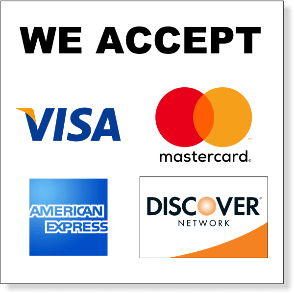 """Square Credit Card Accepted Decal  12"""" x 12"""""""