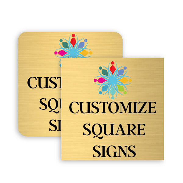 Square Full Color Brass Signs
