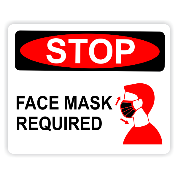 Face Mask Required - Stop Red/Black Sign