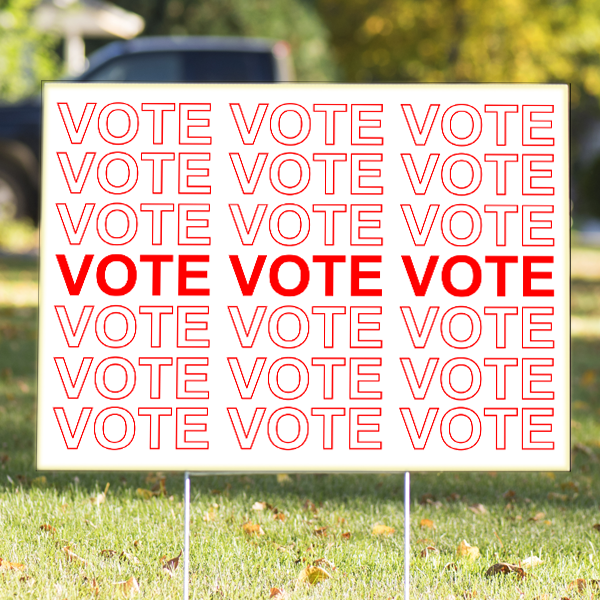 """Thank You Bag Style Red """"Vote"""" Yard Sign   18"""" x 24"""""""