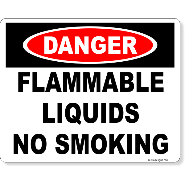 Danger Flammable Liquids No Smoking Full Color Sign | 8
