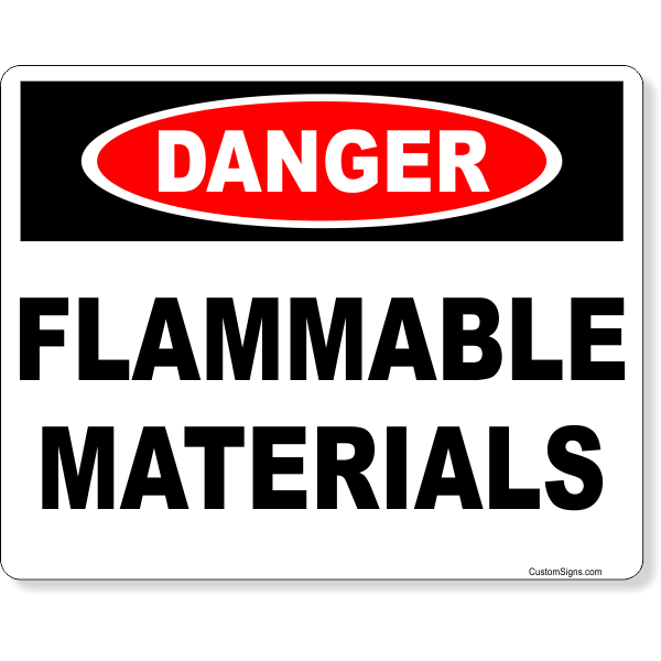 """Danger Flammable Materials Full Color Sign   8"""" x 10"""""""