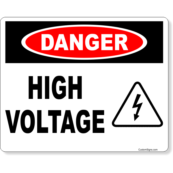 "Danger High Voltage Icon Full Color Sign | 8"" x 10"""
