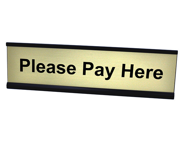 Please Pay Here Gold Plate