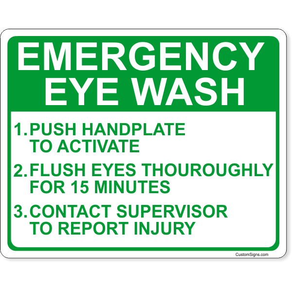 "Emergency Eye Wash Instructions Full Color Sign | 8"" x 10"""