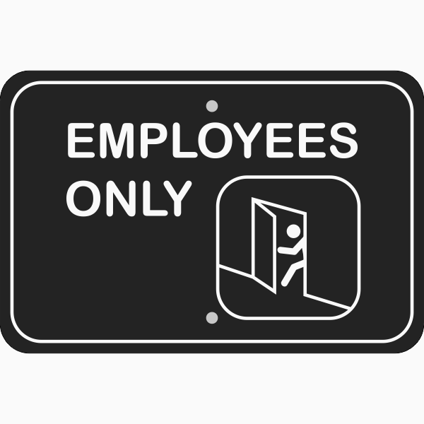 Horizontal Illustrated Employees Only Sign