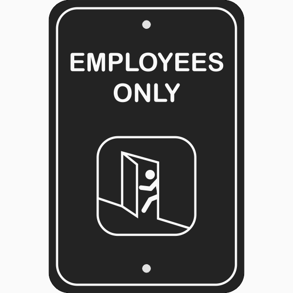 Vertical Illustrated Employees Only Sign
