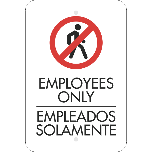 Vertical English Spanish Employees Only Sign