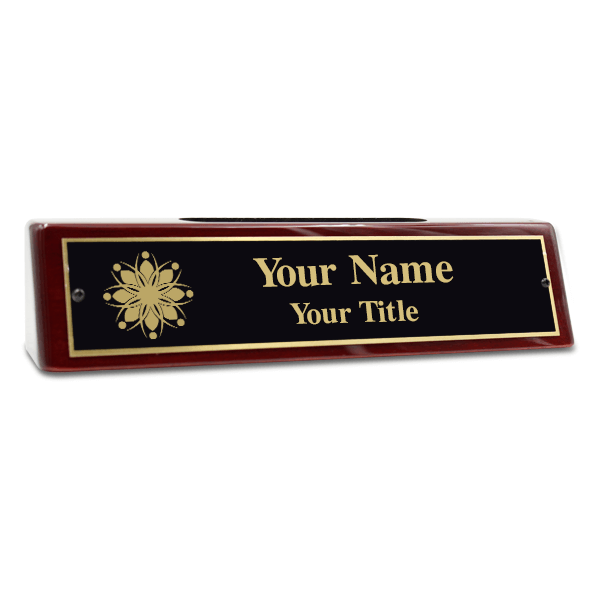 """Engraved Brass Desk Name Plate with Business Card Holder 2"""" x 8"""""""