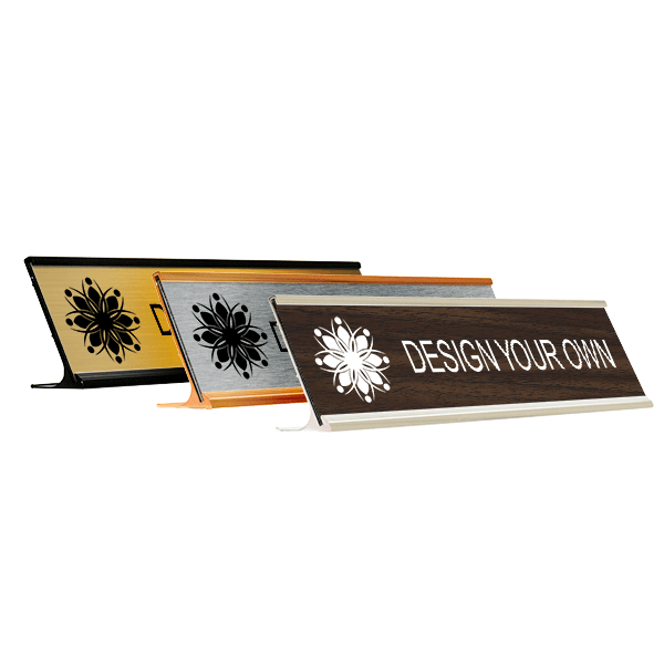Engraved Desk Name Plate w/ Alum Holder | 2