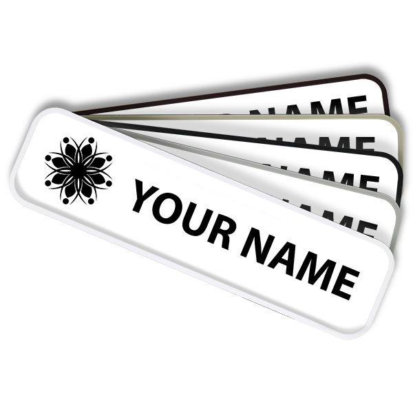 Engraved Name Plate For Wall or Door - Rounded Plastic Holder - Removable Insert