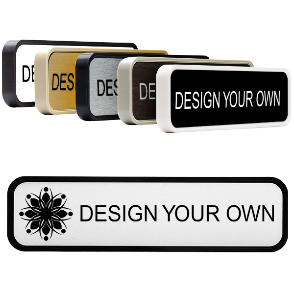 """Rounded Engraved Sign with Plastic Holder - 2"""" x 8"""""""