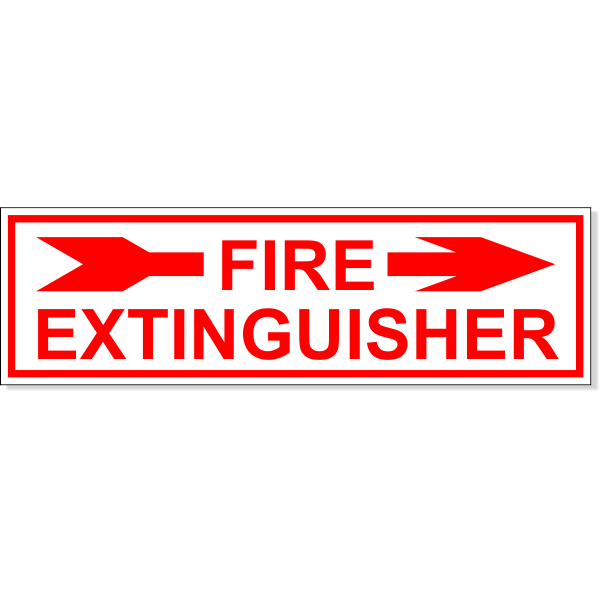 Fire Extinguisher Right Arrow Engraved Plastic Sign | 3