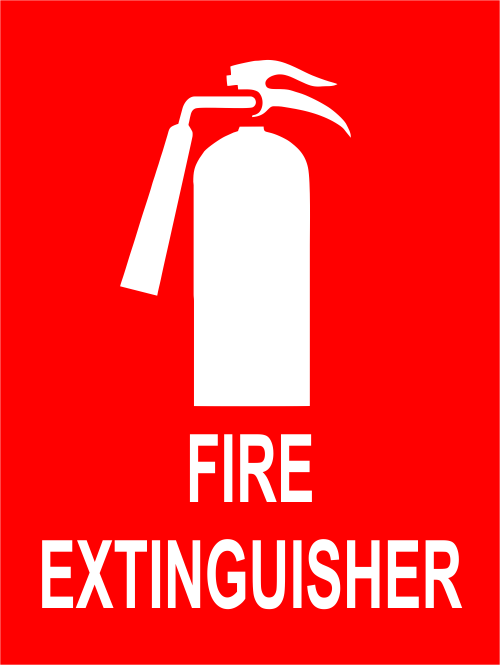 Fire Extinguisher With Symbol Sign 6 X 8 Custom Signs