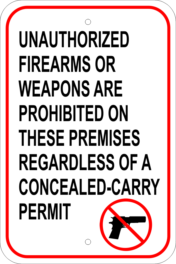 Unauthorized Firearms Carry Permit Aluminum Sign