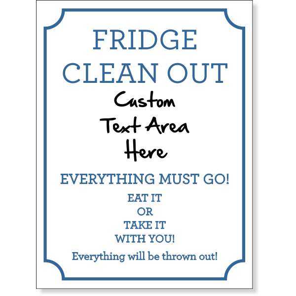 Fridge Clean Out Dry Erase Sign | 8