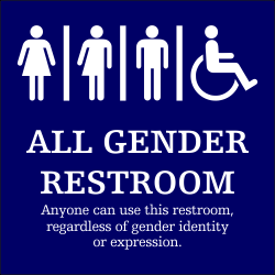 Plastic ALL GENDER Handicapped With Message Sign