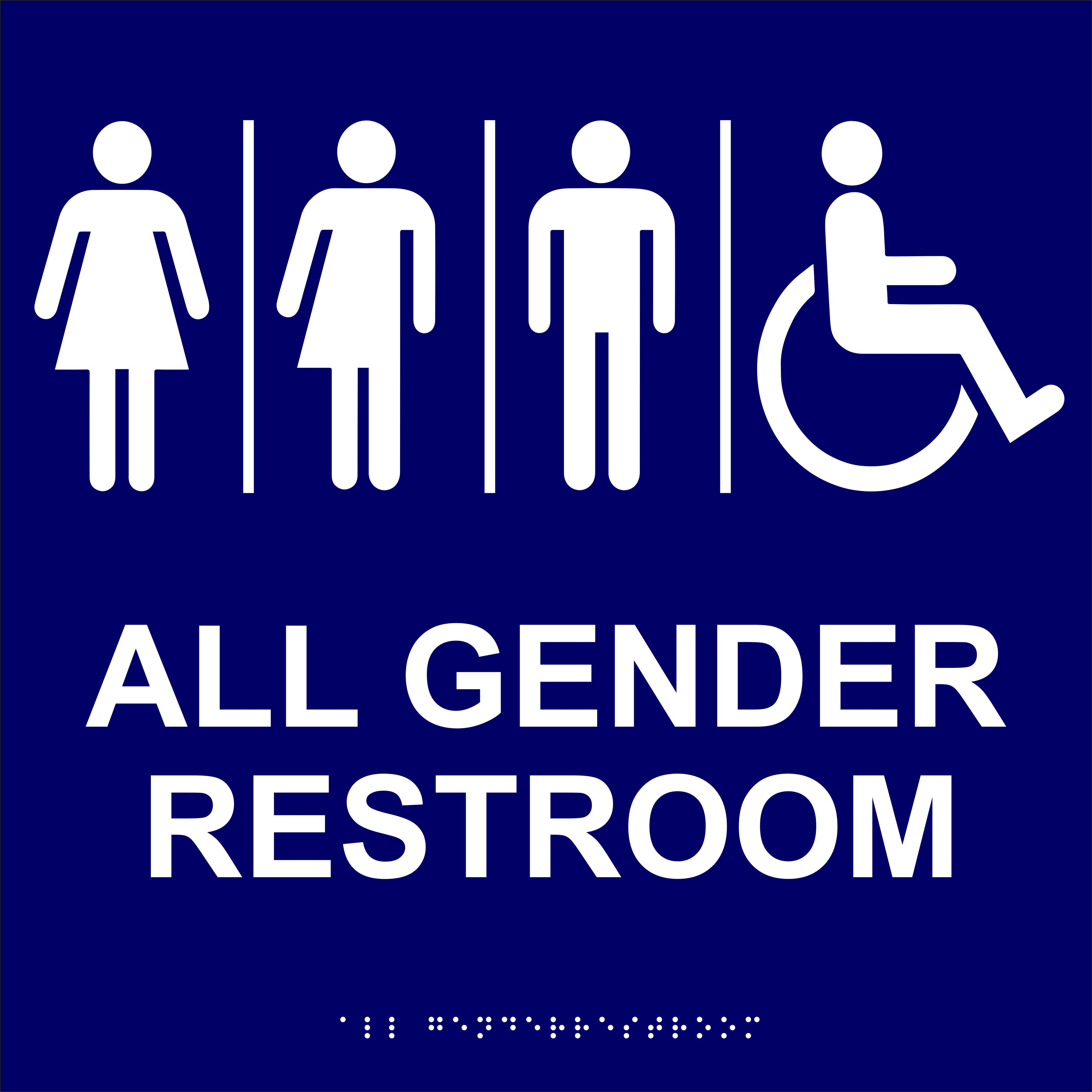 All Gender 12 X 12 Handicapped Sign With Message Custom Signs