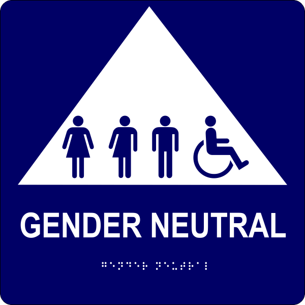 "All Gender Triangle Handicapped Sign 10"" x 10"""