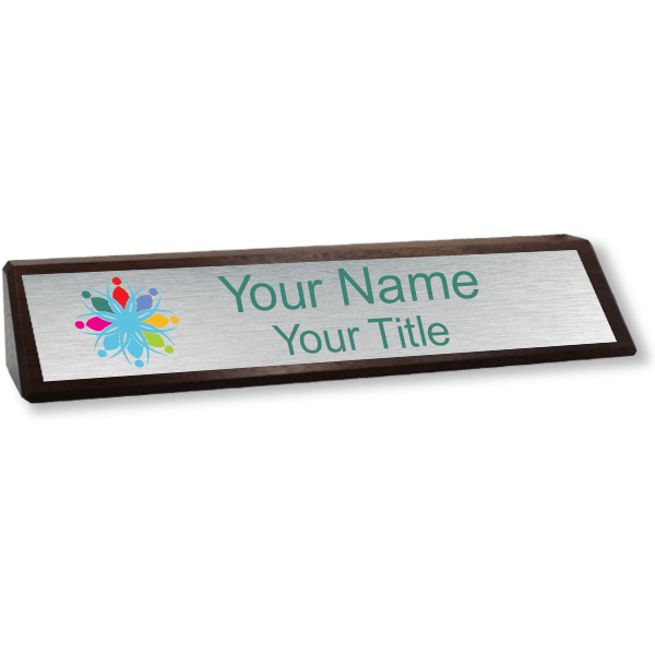 Genuine Walnut Desk Wedge with Full Color Name Plate