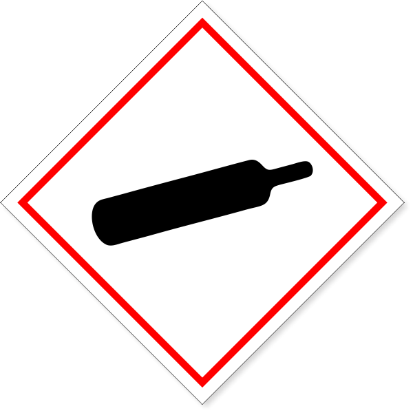 "GHS Compressed Gas Cylinder Hazard Decal | 6"" x 6"""