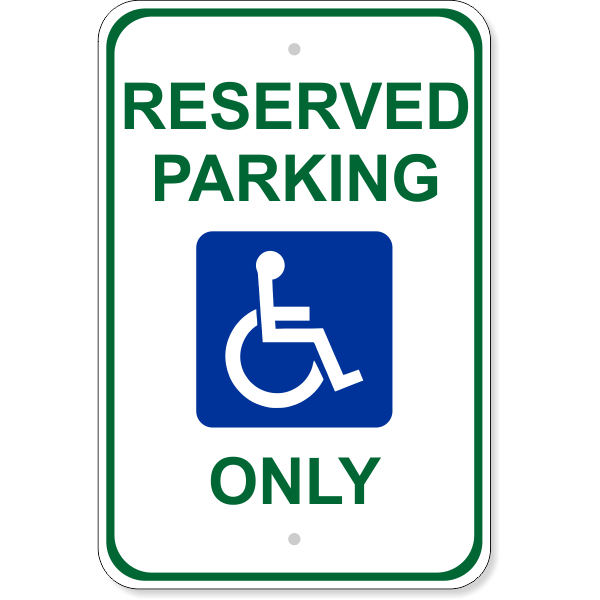 Handicap Reserved Parking Aluminum Sign