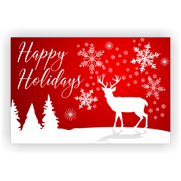 Happy Holidays White Reindeer Banner - 2' x 3'
