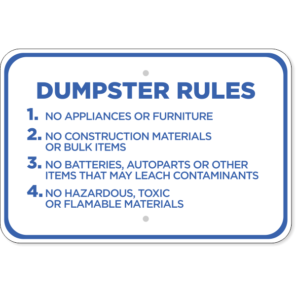 Horizontal Dumpster Rules Sign