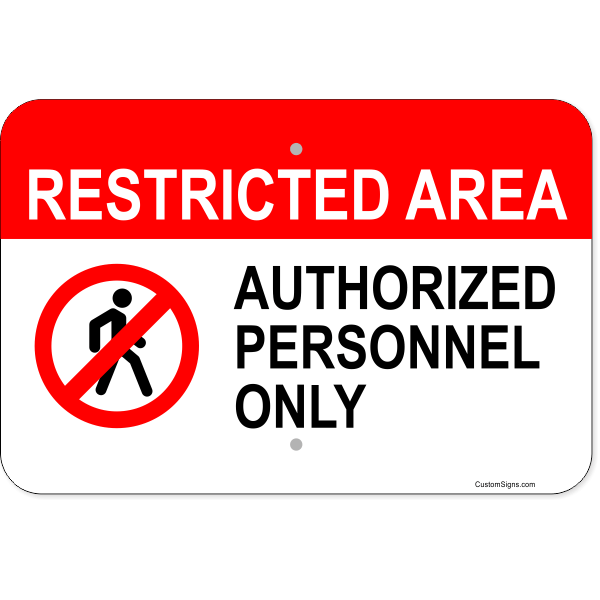 "Horizontal Restricted Area Authorized Personnel Aluminum Sign | 12"" x 18"""