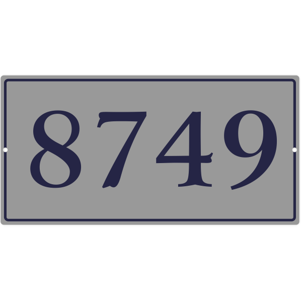 Large Rectangle Border House Number Sign | 8