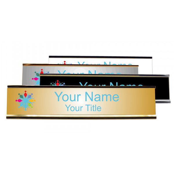 "Left Logo Full Color 2"" x 10"" Desk Plate with Holder"