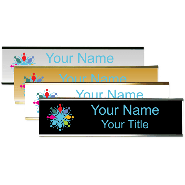 """Left Logo Full Color 2"""" x 8"""" Wall Plate with Holder"""