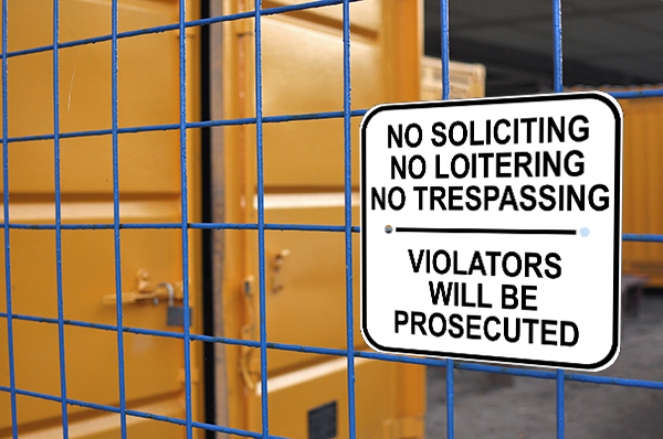 No Soliciting Loitering Trespassing Sign Custom Signs